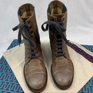Brunello Cucinelli Tan/Gray Brogue Ankle Boot 37